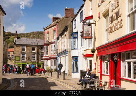 UK, England, Yorkshire, Staithes, High Street - Stock Photo