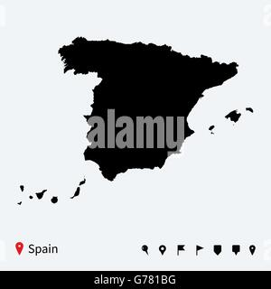 High detailed vector map of Spain with navigation pins. - Stock Photo
