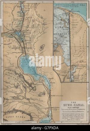 THE SUEZ CANAL. Port said. Topo-map. Egypt. BAEDEKER, 1914 - Stock Photo