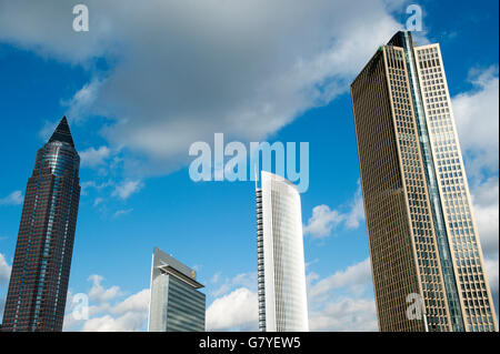 Skyscrapers in Frankfurt, from left, Messeturm tower, the twin towers Castor and Pollux and Tower 185, Frankfurt - Stock Photo