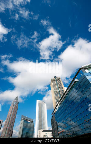 Skyscrapers in Frankfurt, from left, Messeturm tower, the twin towers Castor and Pollux and Tower 185, on the right - Stock Photo