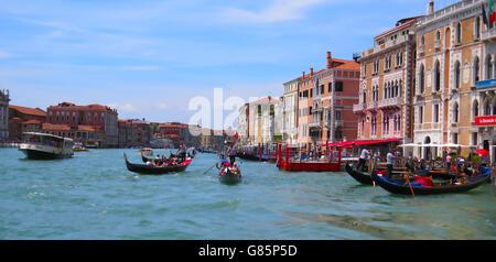 VENICE, Italy. Looking south along the Grand Canal from the Rialto Bridge. Photo Tony Gale - Stock Photo