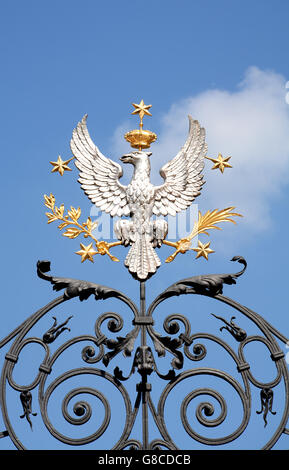 details of the gate of University Warsaw Poland - Stock Photo