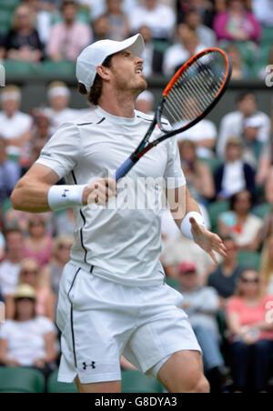 London, UK. 28th June, 2016. AELTC Tennis Championships at Wimbledon London UK Andy Murray GBR in 1st round match - Stock Photo