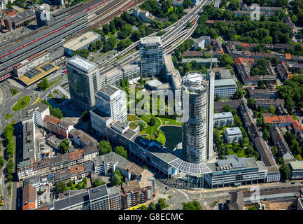 Aerial view, RWE Tower, EVONIK Headquarters, RAG-management, central station south entrance, Essen, Ruhr Area, - Stock Photo