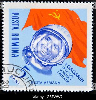 ROMANIA - CIRCA 1963: stamp printed in Romania shows astronaut Yuri Gagarin, circa 1963. - Stock Photo