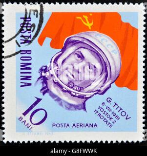 ROMANIA - CIRCA 1963: stamp printed in Romania shows astronaut, Gherman Titov, circa 1963. - Stock Photo