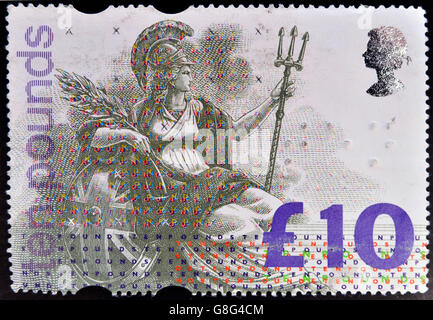UNITED KINGDOM - CIRCA 1993: A stamp printed in Great Britain dedicated to High Value Definitive shows Britannia, - Stock Photo