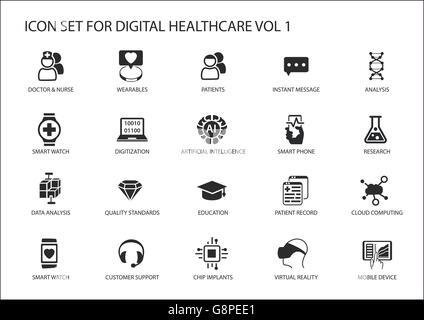 Digital healthcare and medicine vector icon set - Stock Photo