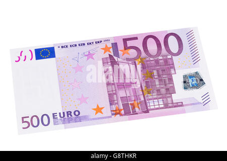 Five hundred Euro banknote on a white background - Stock Photo