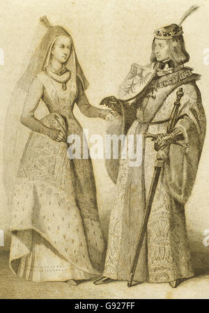 Holy Roman Emperor Maximilian I (1459-1519) with his wife Mary of Burgundy (1457-1482). Engraving. - Stock Photo