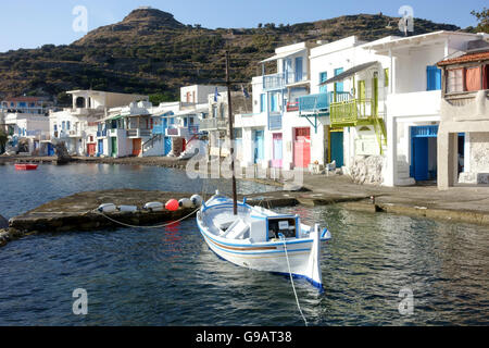 Klima fishing harbour and boat houses Milos Greece - Stock Photo