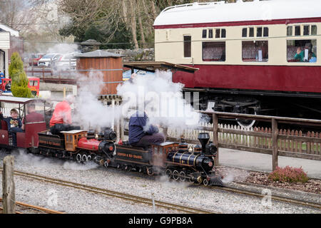 Cafe in a buffet coach with miniature railway steam train giving tourist rides in Conwy Valley Railway Museum Betws - Stock Photo