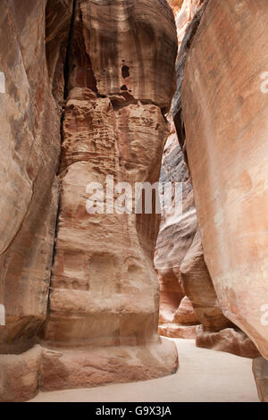 Siq, canyon, Petra Archaeological Park, Petra, Jordan, Asia Minor - Stock Photo