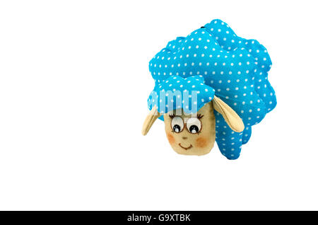 Rag-doll speckled lamb isolated on white - Stock Photo