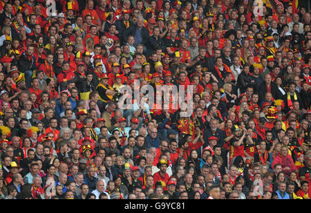 Lille Metropole, France. 01st July, 2016. Supporters of Belgium in the stands during the UEFA EURO 2016 quarter - Stock Photo