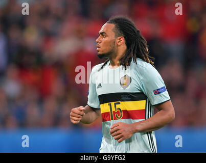 Lille Metropole, France. 01st July, 2016. Jason Denayer of Belgium in action during the UEFA EURO 2016 quarter final - Stock Photo