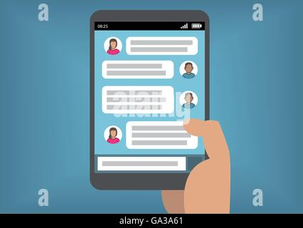 Mobile instant messaging concept with hand holding smart phone or tablet as vector illustration - Stock Photo