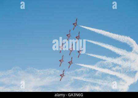 Canadian Forces Snowbirds, Canadair CT-114 Tutor, Wings Over Springbank, Springbank, Alberta, Canada - Stock Photo