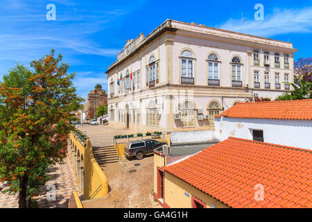 SILVES TOWN, PORTUGAL - MAY 17, 2015: view of town hall building in old town of Silves. - Stock Photo