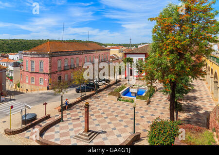 SILVES, PORTUGAL - MAY 17, 2015: square in Portuguese historic town of Silves, Algarve region, Portugal. This town - Stock Photo