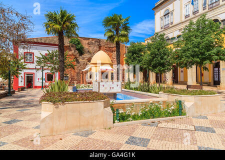 SILVES TOWN, PORTUGAL - MAY 17, 2015: square with town hall building in in Portuguese historic town of Silves. Famous - Stock Photo