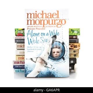 Alone on a Wide Wide Sea by Michael Morpurgo on a white background - Stock Photo
