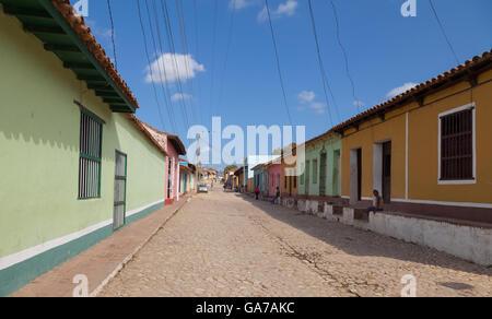 Colorful street in Trinidad, Cuba - Stock Photo