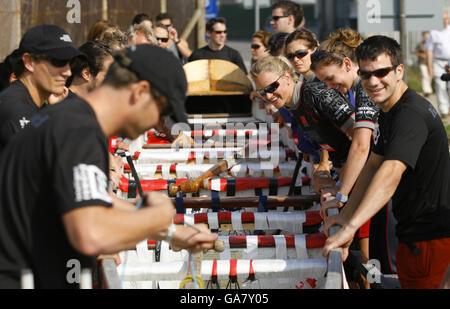 Dragon boat cross-channel race - Stock Photo