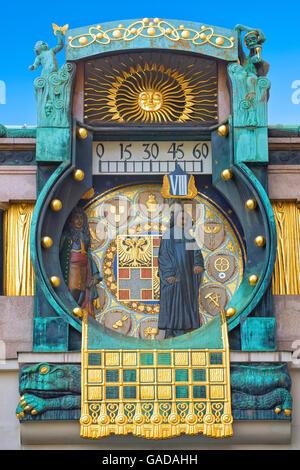 Hoher Markt clock in Vienna - Stock Photo