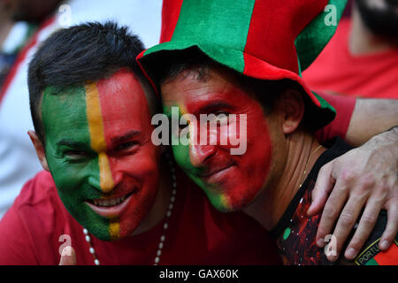 Lyon, France. 6th July, 2016. Fans of Portugal pose before the Euro 2016 semifinal match between Portugal and Wales - Stock Photo