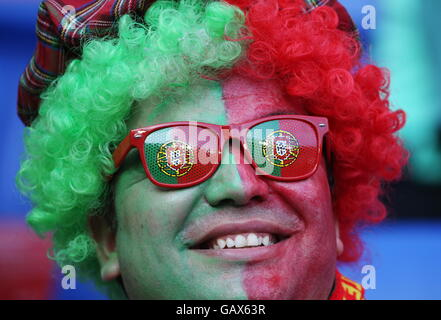 Lyon, France. 6th July, 2016. Portugal fancheers ahead of the 2016 UEFA European Football Championship semifinal - Stock Photo