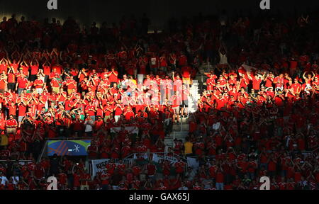 Lyon, France. 6th July, 2016. Wales' fans ahead of the 2016 UEFA European Football Championship semifinal match - Stock Photo