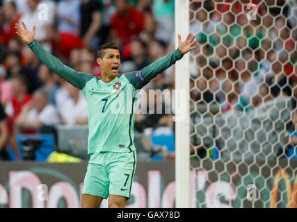 Lyon, France. 6th July, 2016. Cristiano RONALDO, Por 7 Emotions gesture  PORTUGAL - WALES  2-0 Semifinal ,Football - Stock Photo