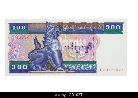 Myanmar one hundred Kyat note on a white background - Stock Photo