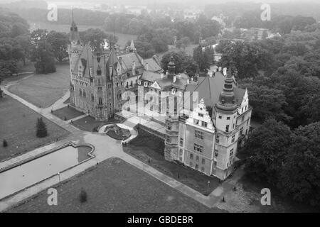 MOSZNA CASTLE (aerial view). Voivodeship of Opole, Poland. - Stock Photo
