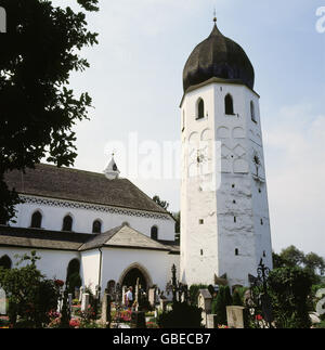 geography / travel, Germany, Bavaria, Frauenchiemsee, monastery church, exterior view, 1980s, Additional-Rights - Stock Photo