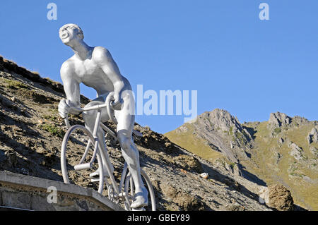 Cyclist sculpture, Tour de France, Col du Tourmalet, mountain pass, Bareges, Midi Pyrenees, Pyrenees, Department - Stock Photo