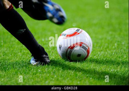 Football about to be kicked, Bayer Leverkusen - Borussia Dortmund 1:3, Bundesliga Football League - Stock Photo