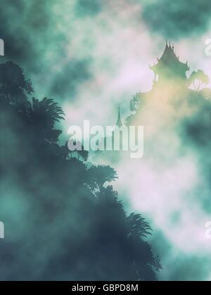 Editable vector illustration of a Buddhist temple in misty mountains made using gradient meshes - Stock Photo