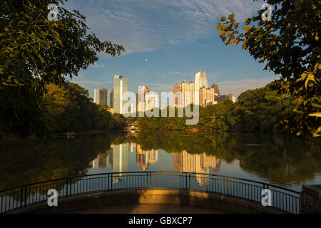 Atlanta skyline with water reflections Piedmont Park, USA - Stock Photo