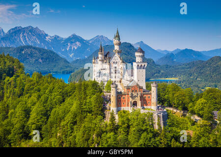 Beautiful view of world-famous Neuschwanstein Castle, one of Europe's most visited castles, in summer, Bavaria, - Stock Photo