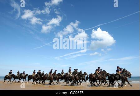 Military - Household Cavalry Mounted Regiment Training - Holkham Beach, Norfolk - Stock Photo