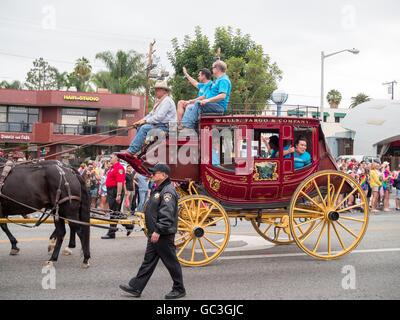 Classical Wells Fargo chariot in LA Pride Parade 2016 - Stock Photo
