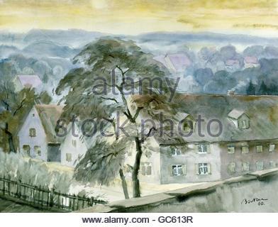 fine arts, Böcker, Hermann, 8.6.1890 - 1978, painting, 'Frühmorgens im Dorf (Altmühltal)', ('early morning at the - Stock Photo