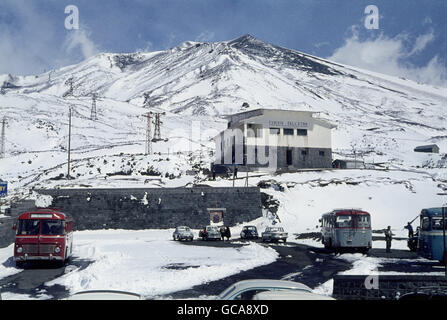 geography / travel, Italy, Sicily, landscapes, view of the Etna summit with cable railway in the foreground, April - Stock Photo