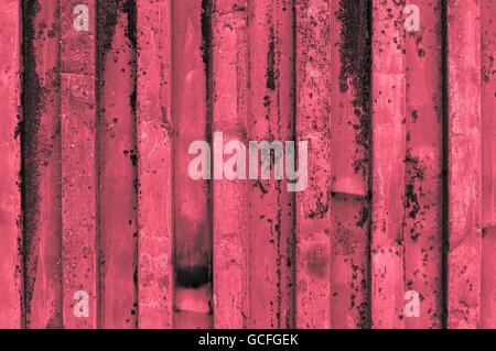 rough and rusty corrugated iron metal surface red reddish grayish - Stock Photo