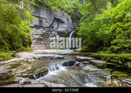 Eagle Cliff Falls in Havanna Glen Park in Montour Falls in the Finger Lakes Region of New York State - Stock Photo