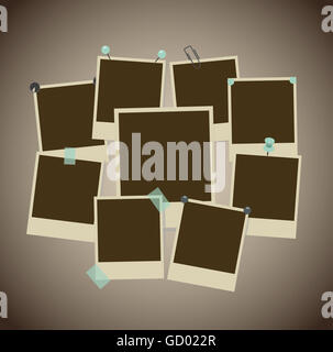 Set of ancient photo frames with pins, pushpins, adhesive tape, clips - Stock Photo