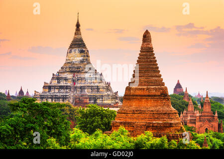 Bagan, Myanmar temples in the Archaeological Park. - Stock Photo